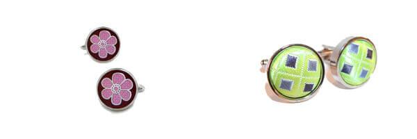 bouton-de-manchette-robert-charles-cufflinks-florence-pink et tissus vert
