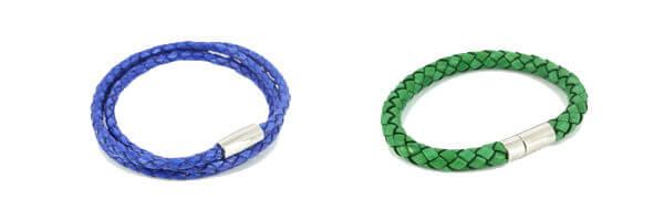 bracelet-tresse-homme-monart-bleu et bracelet milano homme mon art vert