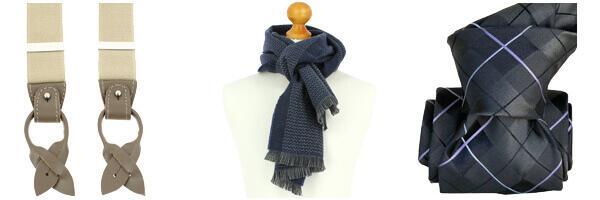 bretelles écharpe laine cravate soie carreaux