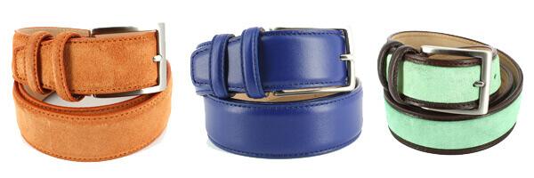 ceinture cuir de veau bleu avec ceinture cuir et daim orange et ceinture cuir et daim vert