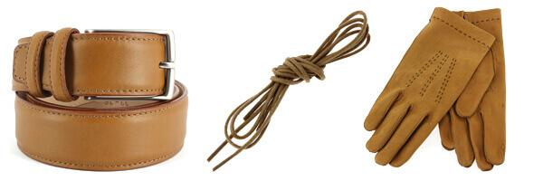 ceinture cuir marron lacets et gants cuir homme