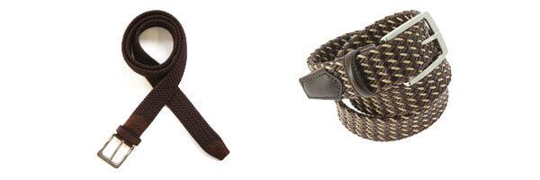 ceinture-cuir-buffle-souple-marron et tressée marron