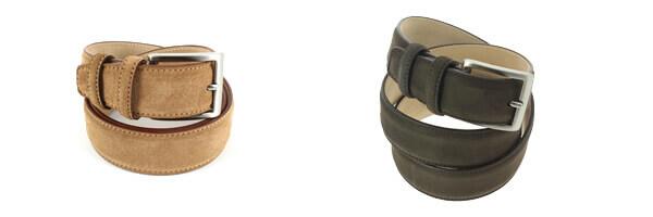 ceinture-cuir-daim-cognac-35mm-bords-surpiqueset nubuck marron