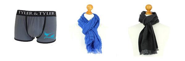 cheche-homme-bleu avec boxer et écharpe