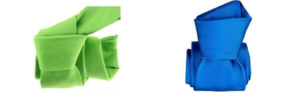 cravate-classique-segni-disegni-pure-soie-satin-bleu et soie vert