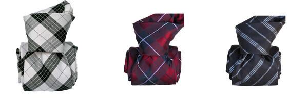 cravate-classique-segni-disegni-pure-soie-southampton-carreaux-bordeaux-noir et blanc et bleu