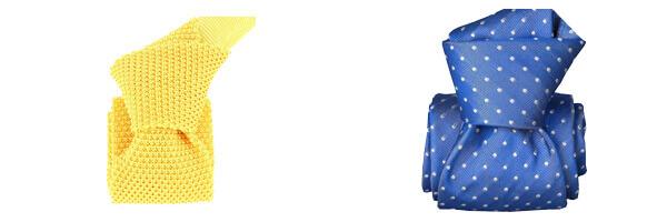 cravate-segni-disegni-luxe-faite-main-artemis-bleu avec cravate tricot soie jaune