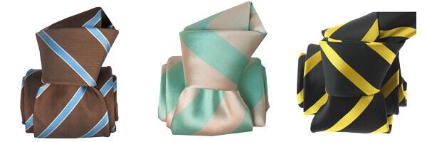 cravate-segni-disegni-luxe-faite-main-ekinos-taupe et cravate raye verte et jaune