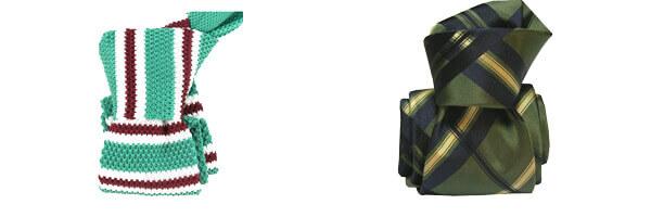/cravate-segni-disegni-luxe-faite-main-rimini-verte et cravate tricot