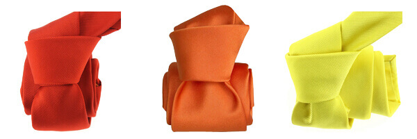 cravate-soie-italienne-rouge-geraneo, orange et jaune