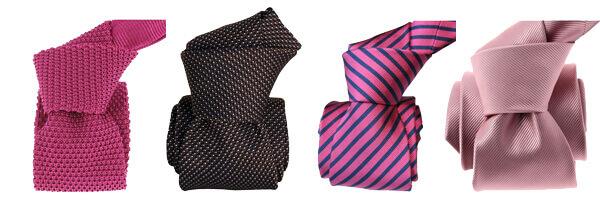 cravate-tricot-soie-luxueuse et cravates soie rose et marron