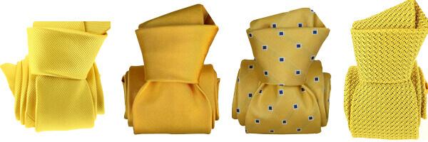cravates jaunes soie, grenadine de soie, microfibre et Luxe faite à la main
