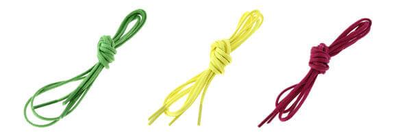 lacets ronds coton ciré couleur vert pastourelle, jaune et rose boléro