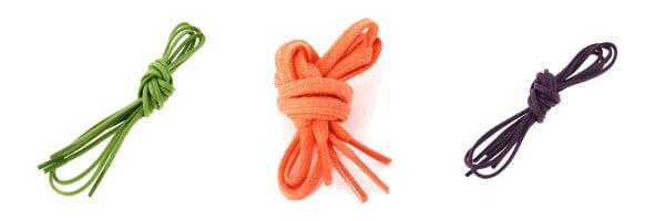 lacets-ronds-coton-cire-couleur-vert-anis et lacets prune et orange