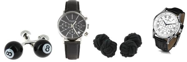 montre-simon-carter-lt001-black et boutons de manchettes noir
