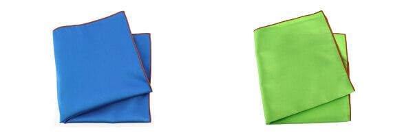 pochette-soie-bleu-cina-ourlet-orange et verte