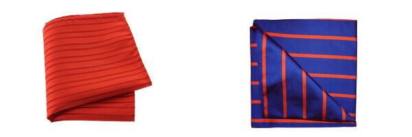 pochette-soie-tyler-and-tyler-stripe-bleu-roi-et-orange et pochette clj rouge