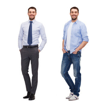 same man in different style clothes -Même homme dans vêtements de style différents