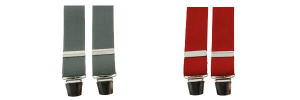 Bretelle 4 clips, rouge cardinal et grise