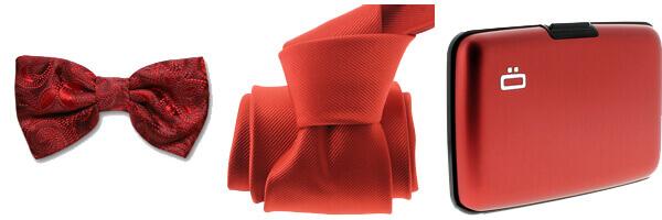 Porte carte Ogon Designs red - rouge avec cravate clj rouge vermillon et noeud papillon soie robert charles rouge