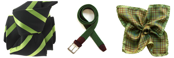 cravate clj urbane verte-ceinture tressée verte et pochette soie verte tartan
