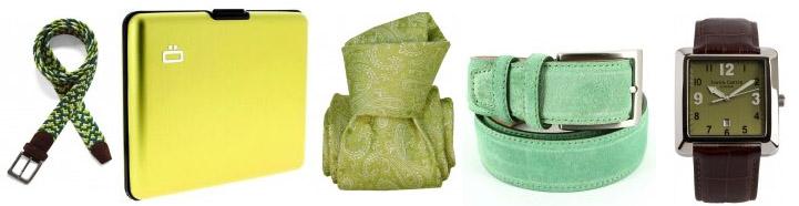 Sélection d'accessoires de mode vert