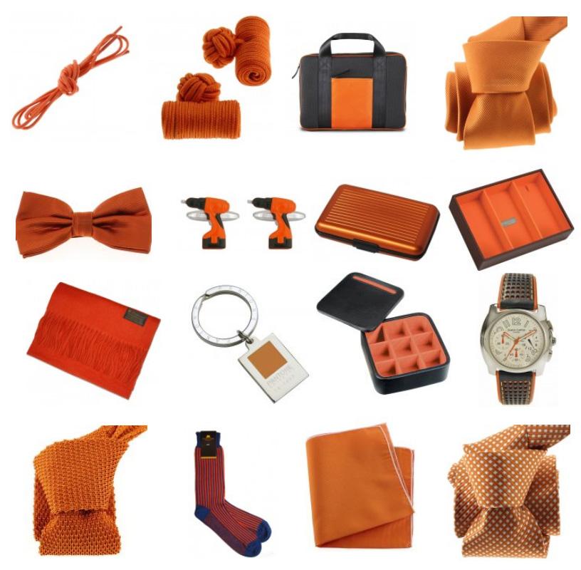 le monde des accessoires de mode en orange